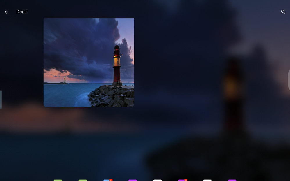 Dock menu landscape mode (not responsive to touch input)