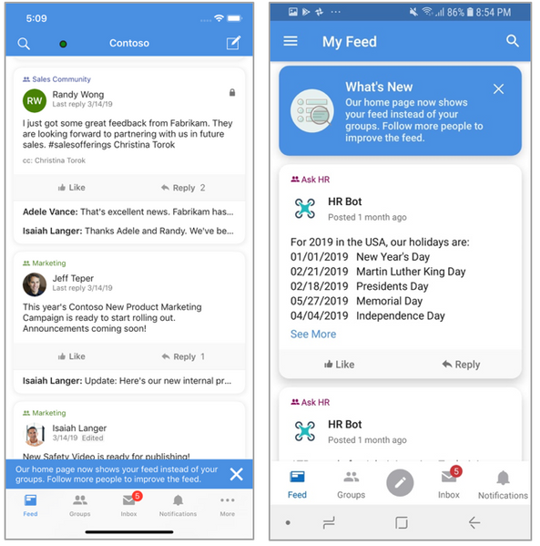 The Yammer mobile app Feed is a combination of All Company and people you follow.