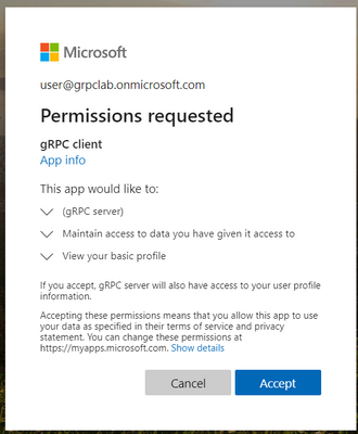 Accepting permissions page