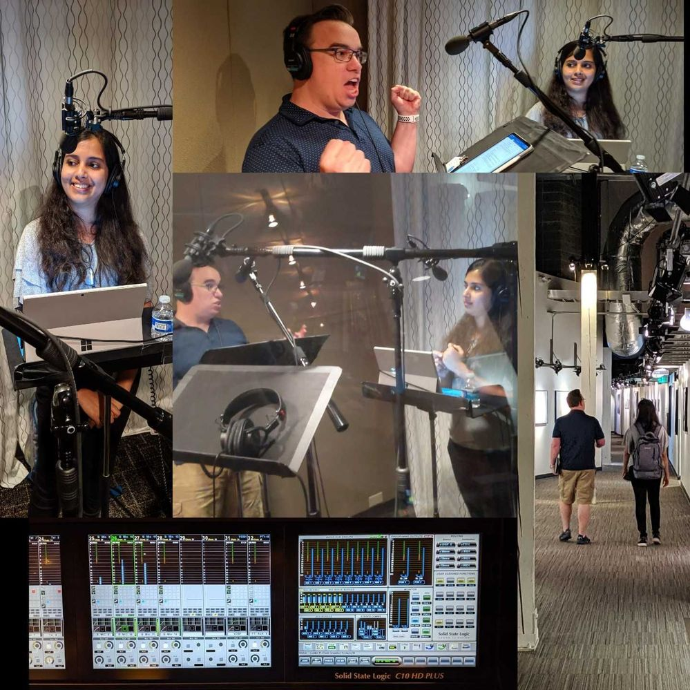A photo collage highlighting the first Sync Up recording session with Ankita Kirti and Jason Moore at Microsoft Studios in Redmond, WA.