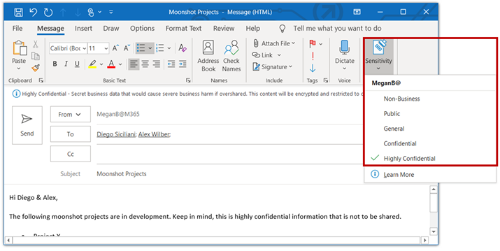 Applying sensitivity labels in Outlook for Windows is a similar experience.