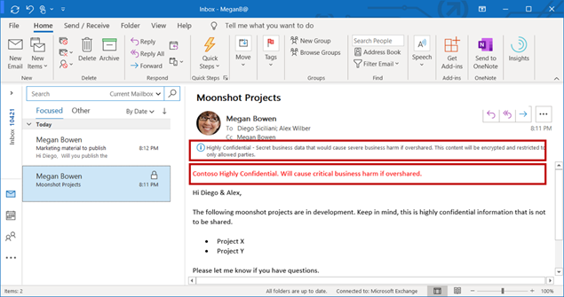 """An email labeled """"Highly Confidential"""" in Outlook for Windows get encrypted, and headers & footers are applied."""
