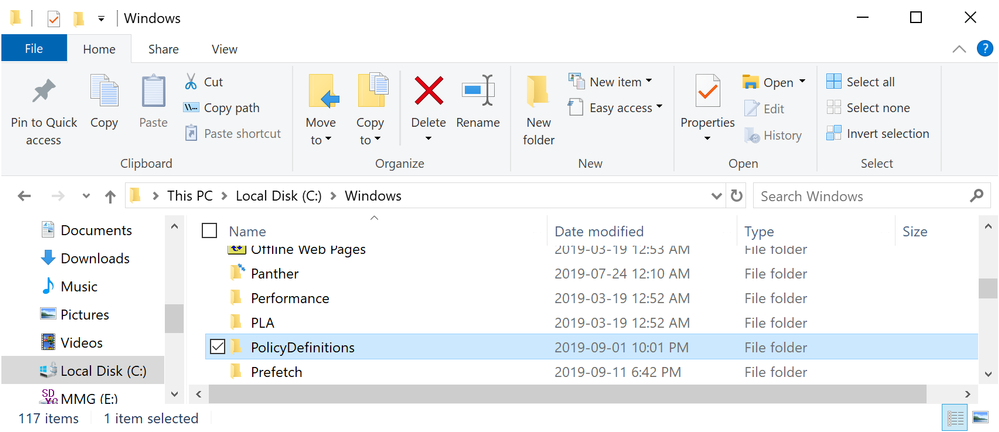 Copying the Policy Definitions Folder - ADMX Templates