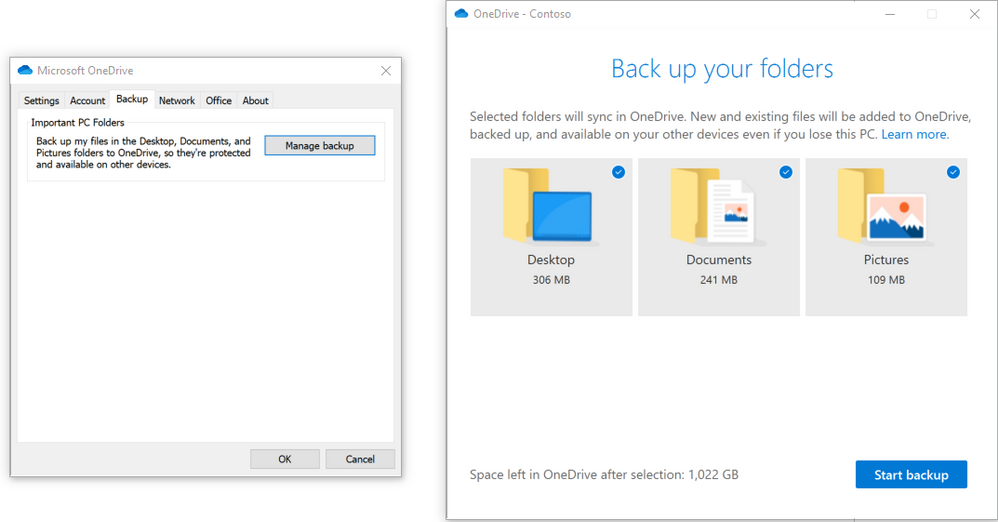 With Known folder move you can back up your important Windows folders like Desktop, Documents and Pictures.