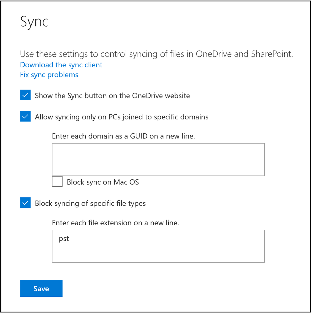 Admin center helps you block syncing of specific file types and domain joined PCs