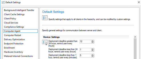 Can be found within SCCM console under client settings