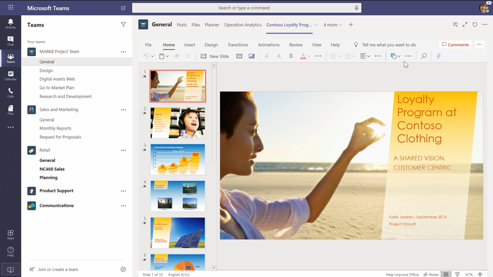 Add an individual Office document as a tab in Teams. As shown above, a PowerPoint file loads in full fidelity using PowerPoint for the Web.