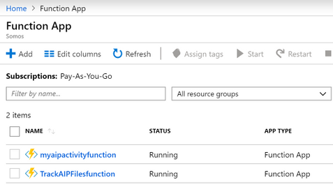 List of Functions in Azure
