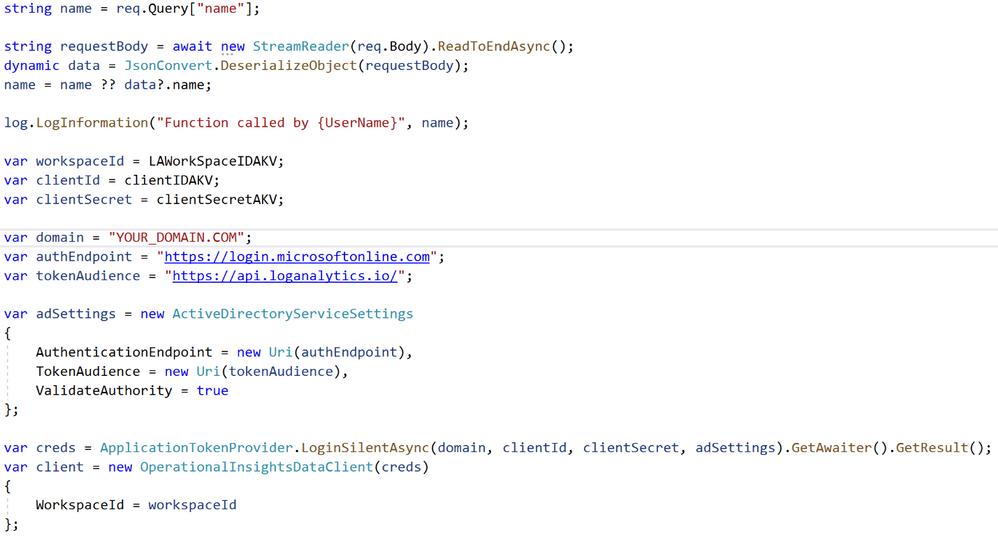 Azure Function code
