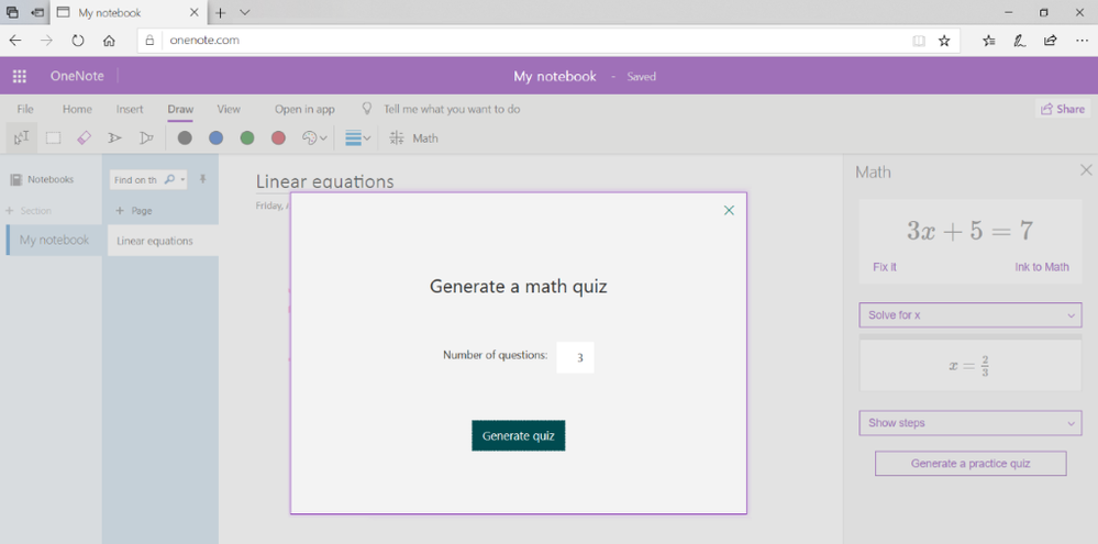 Generate Practice Quiz in OneNote for web