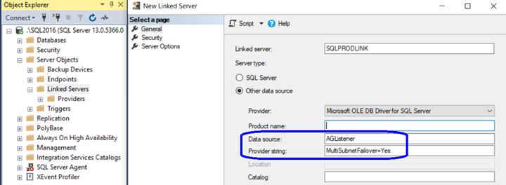 Linked Server Listener MultiSubnet