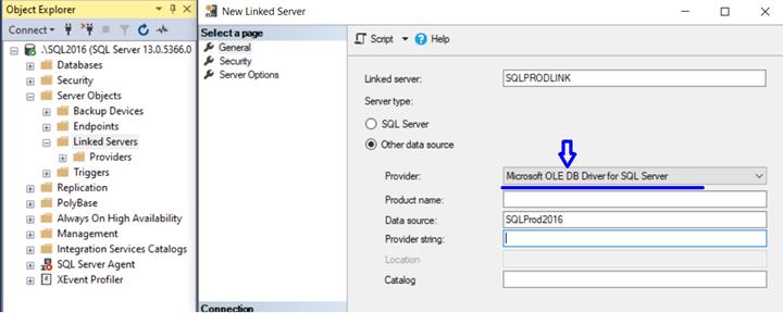 Linked Server MSOLEDB Driver