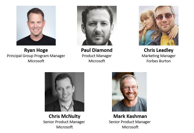 Left to right, top to bottom: Ryan Hoge – principal group program manager (Microsoft) [guest], Paul Diamond - product manager (Microsoft) [guest], Chris Leadley – OneDrive personal user (Forbes Burton) [guest], Chris McNulty – senior product manager (Microsoft) [co-host], and Mark Kashman – senior product manager (Microsoft) [co-host].