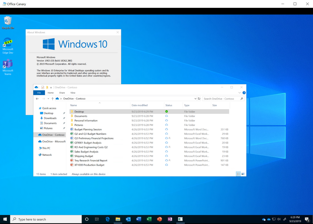 OneDrive functionalities like Files On-Demand and Known Folder Move are available in Windows Virtual Desktop.