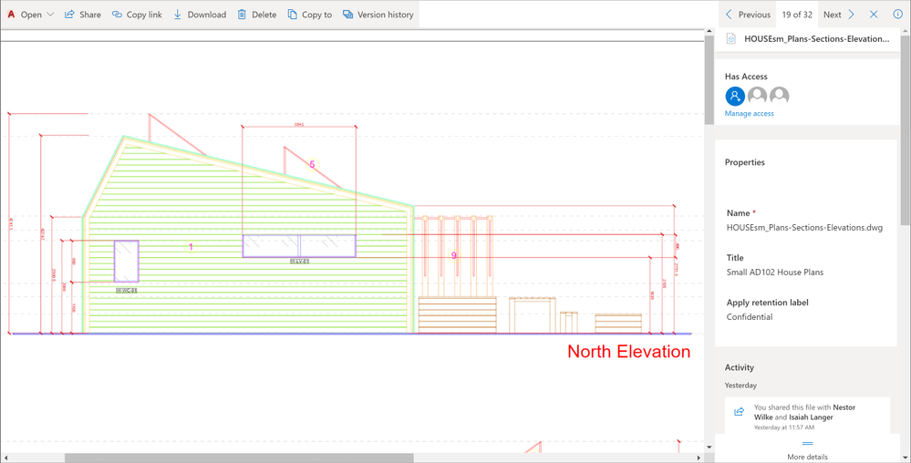 Autodesk CAD file previews in OneDrive