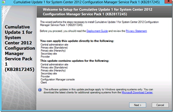CU1 for SysCtr 2012 ConfigMgr SP1–Installation and More.