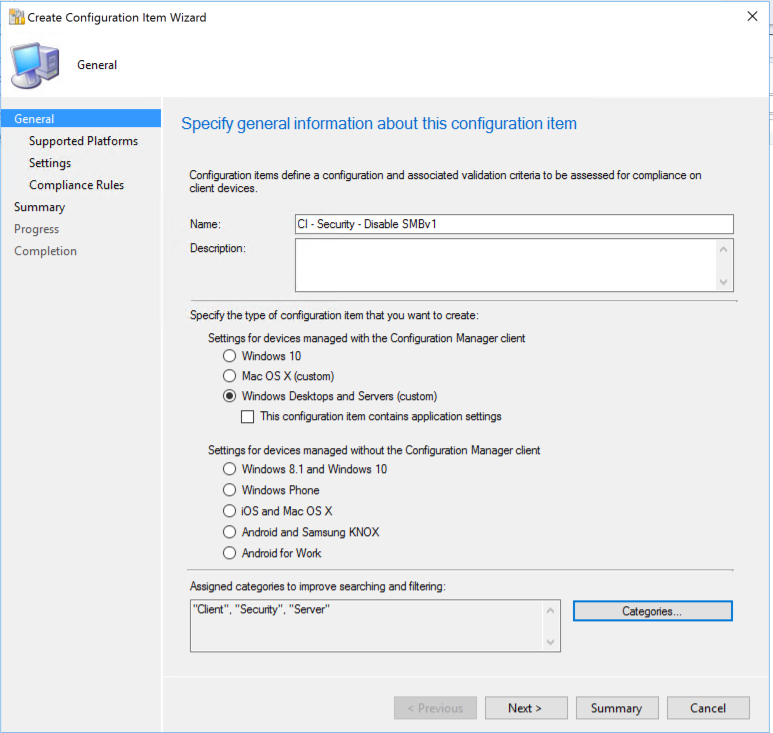 Disable SMBv1 in your environments with Configuration Manager Compliance Settings