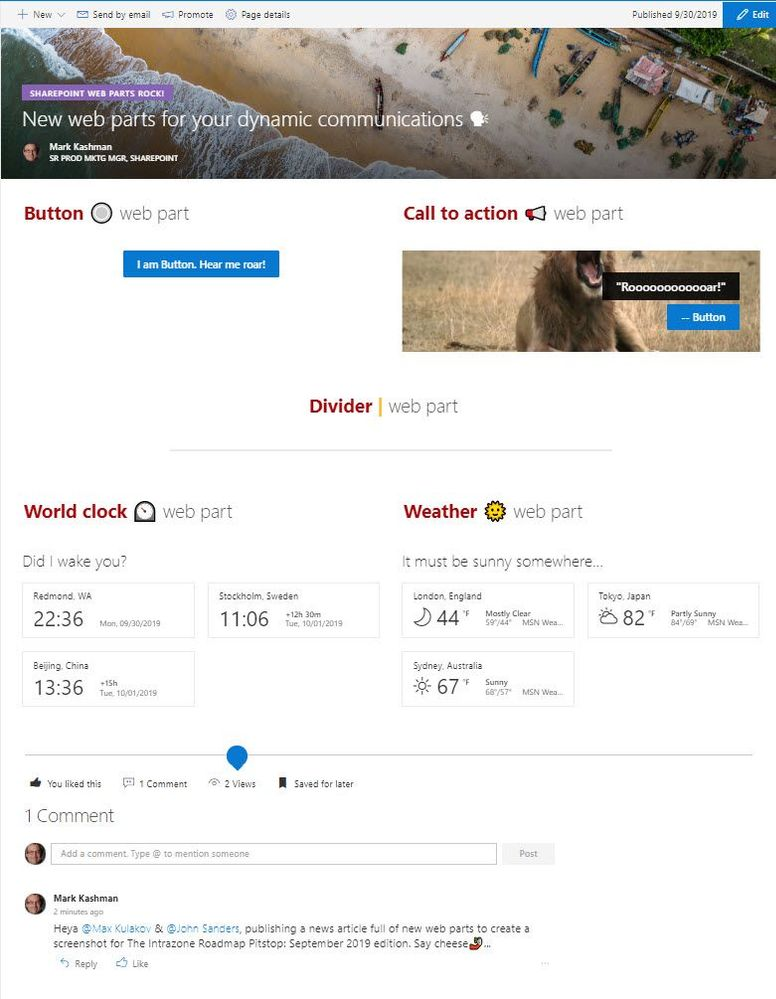 A SharePoint team site news article showcasing five of the new web parts: Button, Call to action, Divider, World clock and Weather.