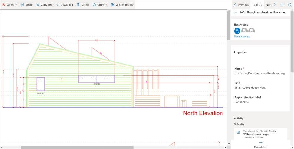 Autodesk CAD file previews for OneDrive, SharePoint and Teams in Microsoft 365.