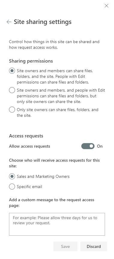Site owners can edit sharing permissions inline in the Site permissions panel.