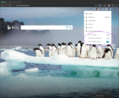 screenshot of bing.com showing how to customize the background / news settings