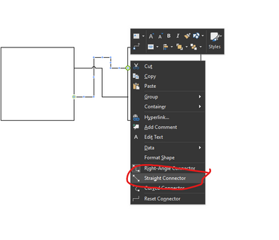 visio screenshot showing how to change connector type