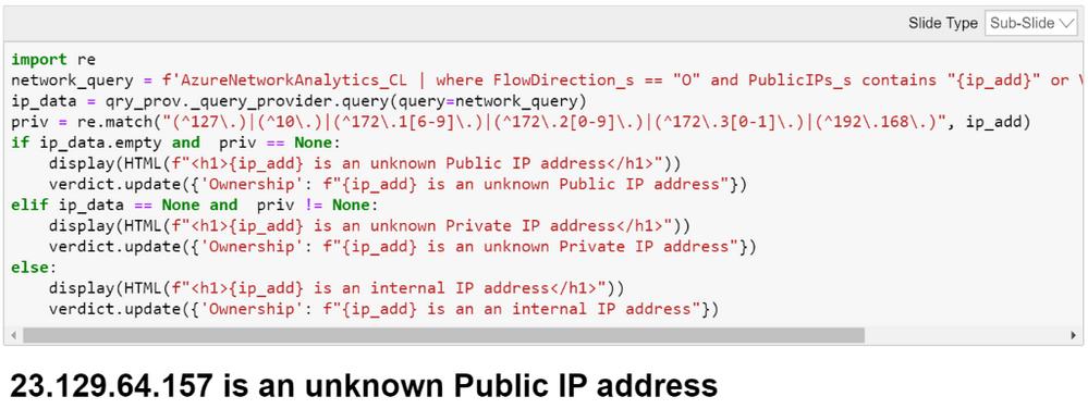Providing details on an IP address