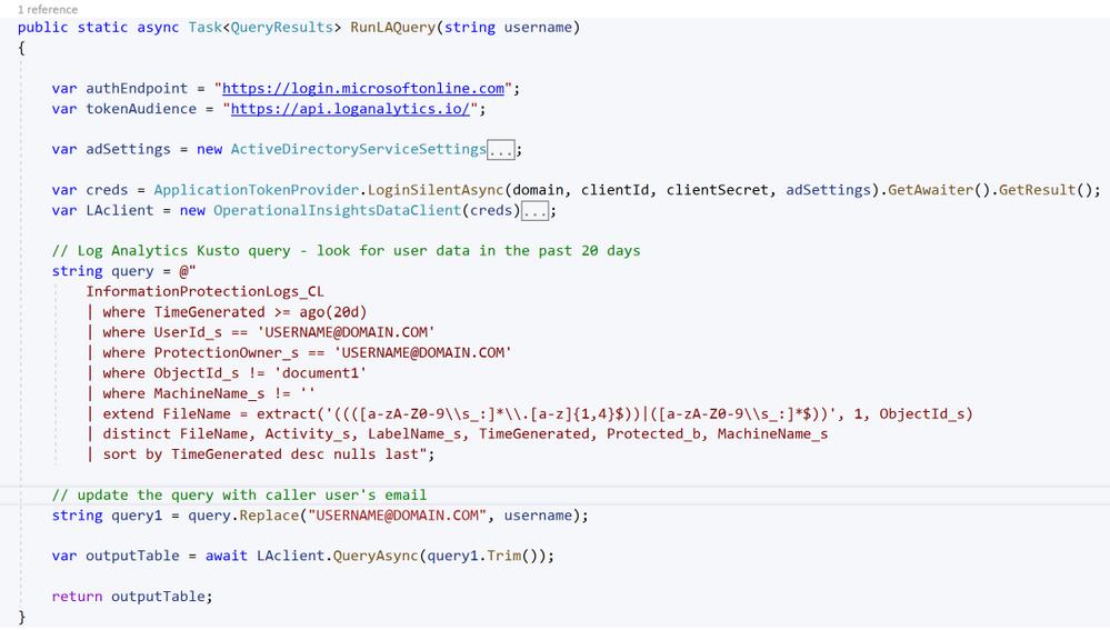 Run query against Log Analytics