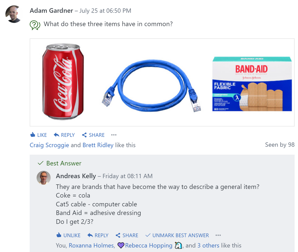 Yammer Q&A Example - Product question