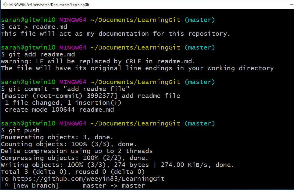 Bash screen with commands