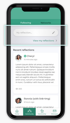 New Community Reflections feature on the Community Mentors app!
