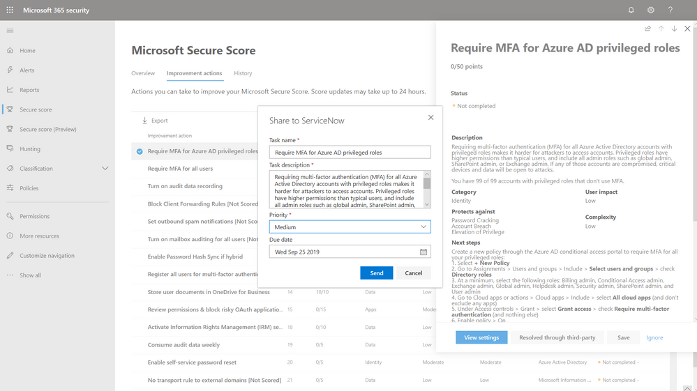 2019 - Microsoft 365 Security Center - Collaboration - Blog - Vibranium - Image 04 - ServiceNow Selected.PNG