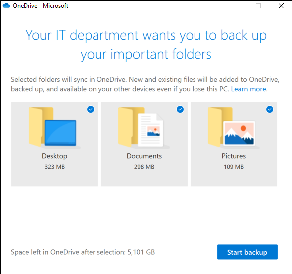 Back up and protect your important Windows folders with OneDrive.