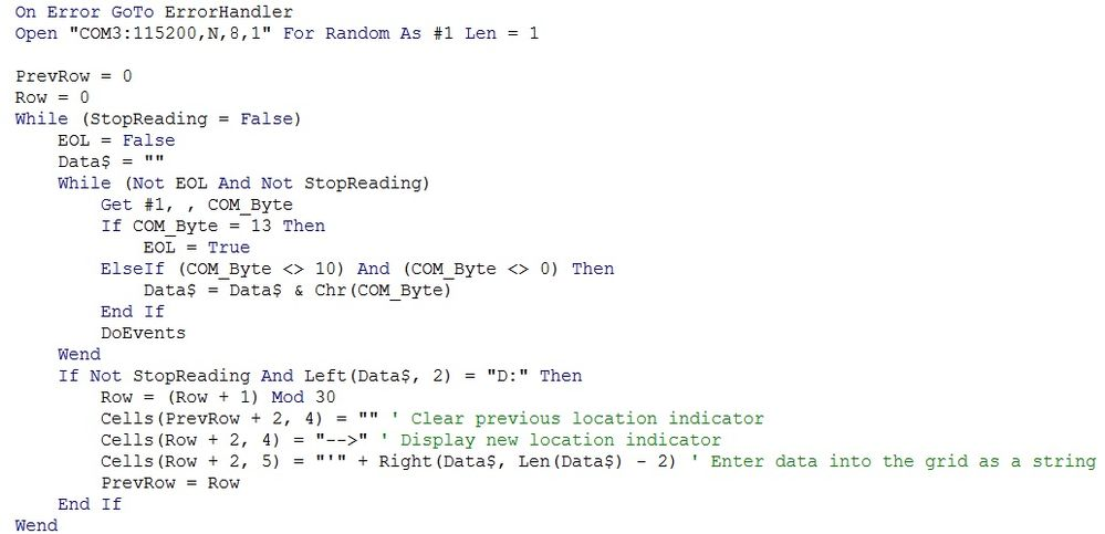 The main communication read loop. You can find the code inside the attached workbook!
