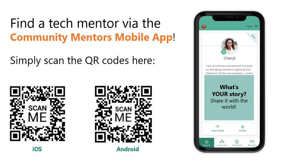 Scan these QR codes to get the direct link to download the Community Mentors mobile app on iOS/Android