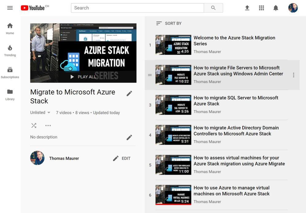 Azure Stack Migration YouTube Playlist