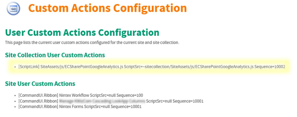 ExtraCAre Intranet User Custom Actions ECSharePointGoogleAnalytics Installed v2.png