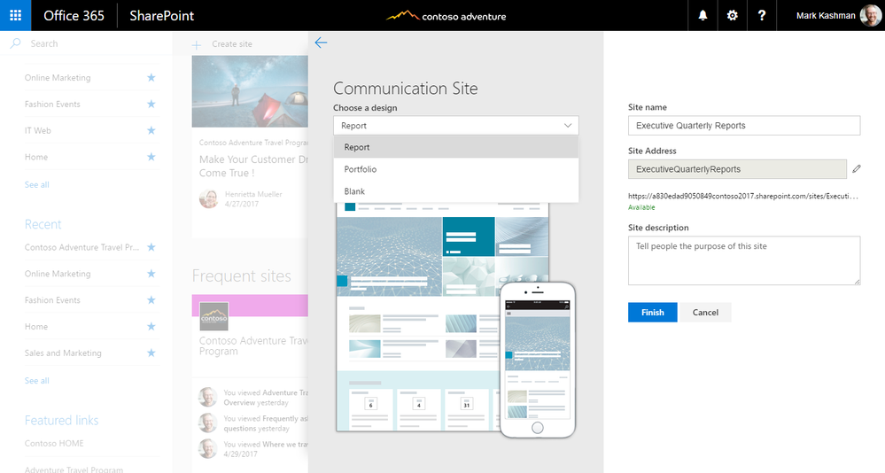 When you create a communication site from SharePoint home in Office 365, you can choose from several site templates.