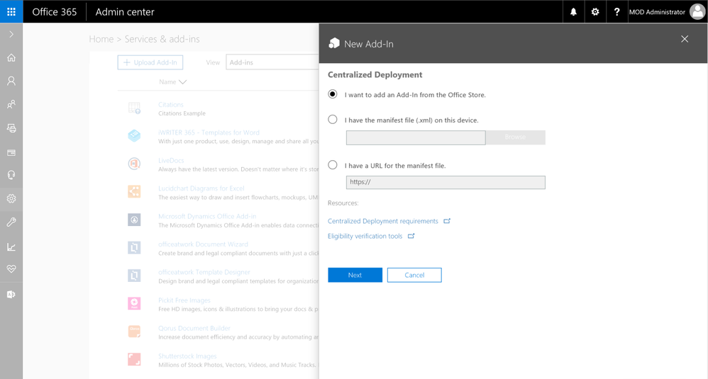 Centralized Deployment in Office 365 Admin Center