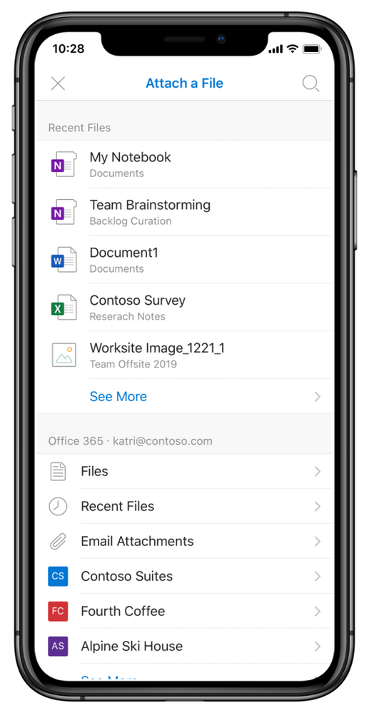 Recently used Office 365 documents and quick access to Files