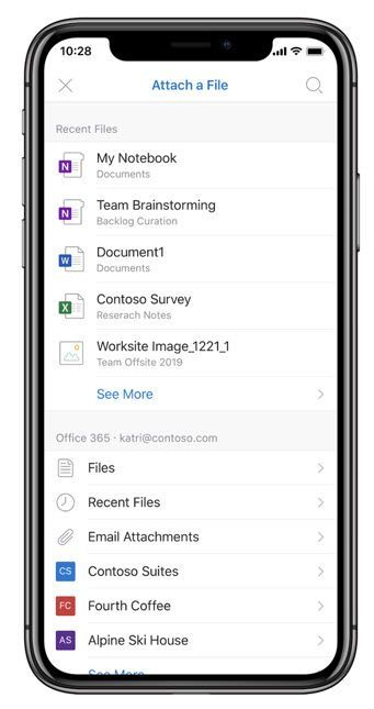 Attach a file as a link from OneDrive and shared libraries right from within Outlook mobile.