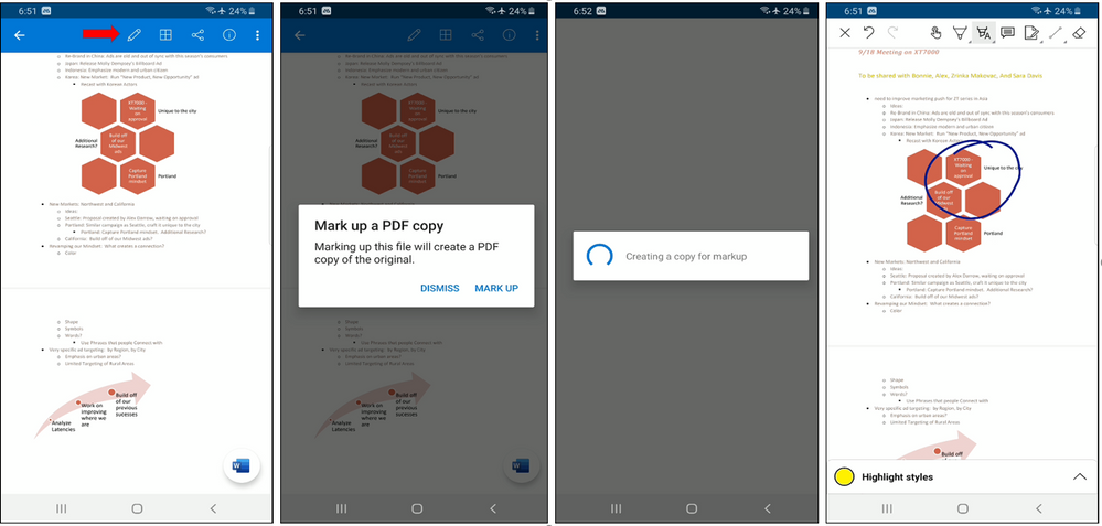 Word, Excel , PowerPoint markup flow for Android.