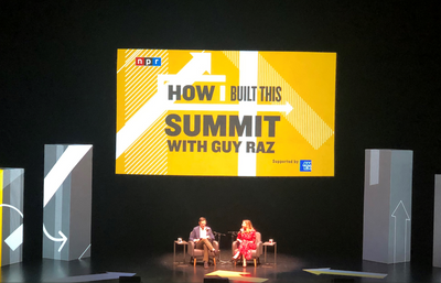 Sara Blakely, founder of Spanx speaks with Guy Raz on the How I Built This Summit main stage