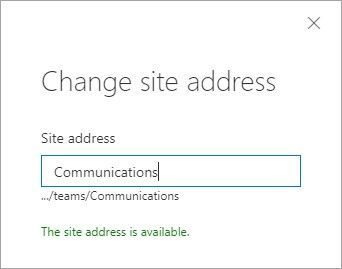 Change the site URL by typing the new desired site address, seeing if it's available, and clicking OK.