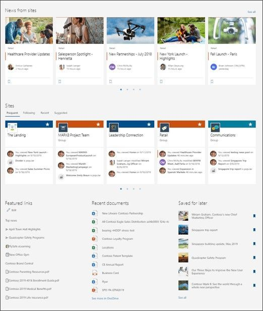 The updated, personalized SharePoint start page showcases news, sites, documents and items saved for later.