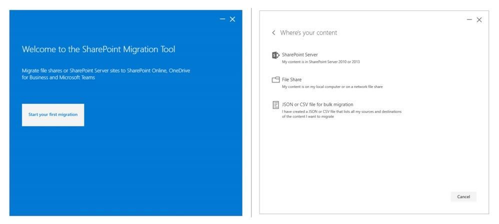 Use the SharePoint Migration Tool to migrate file shares or SharePoint Server sites to SharePoint Online, OneDrive for Business and Microsoft Teams.