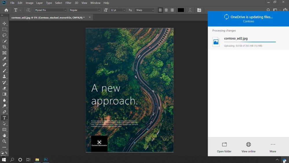When making changes to a file, especially multi-GB files, OneDrive only syncs the changes - as shown here on a large PhotoShop document.