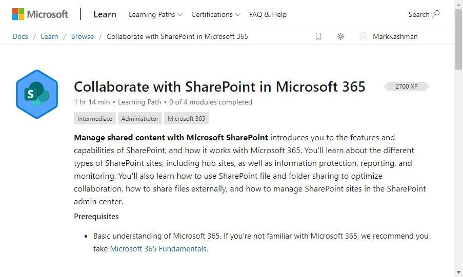 """Browse Microsoft 365 learning path, including the """"Collaborate with SharePoint in Microsoft 365."""""""