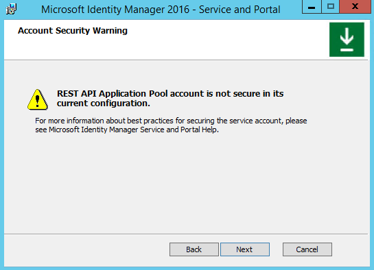 Service account is not secure in its current configuration