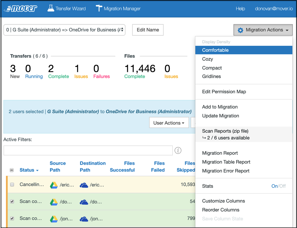 The Mover migration manager is the dashboard which gives you a summary of your overall migration; here showing an active migration of content from Google Drive into OneDrive.